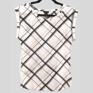 Chiffon blouse with Tartan diagonal pattern